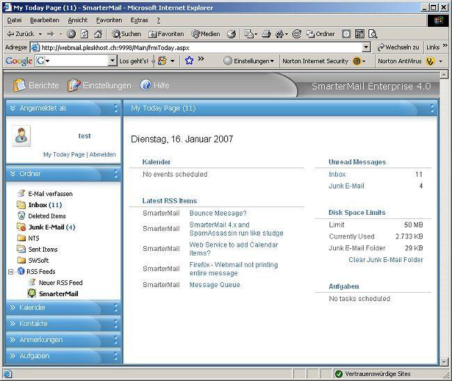 SmarterMail 4 WebMail Heute