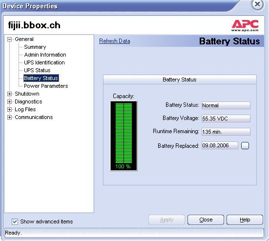 Batterie Status USV APC 3000 VA von PleskHost Switzerland